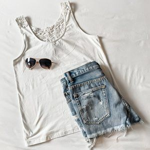 White Tank with Crochet Detail
